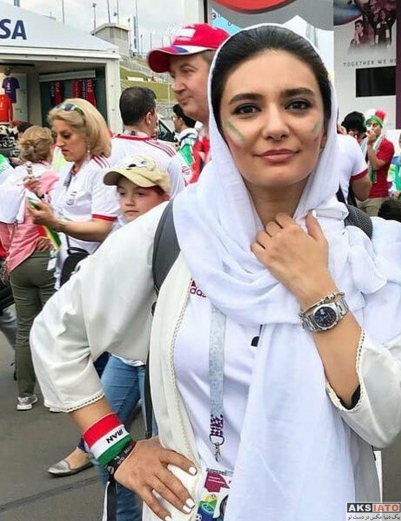 بازیگران بازیگران زن ایرانی  لیندا کیانی در ورزشگاه بازی ایران و مراکش (3 عکس)