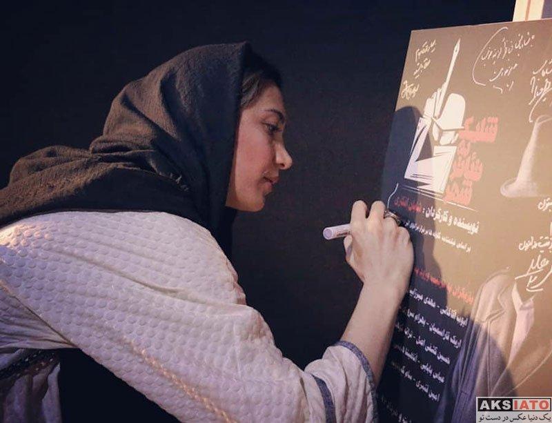 بازیگران بازیگران زن ایرانی  نیکی مظفری در اجرای نمایش شلیک به تئاتر شهر (2 عکس)