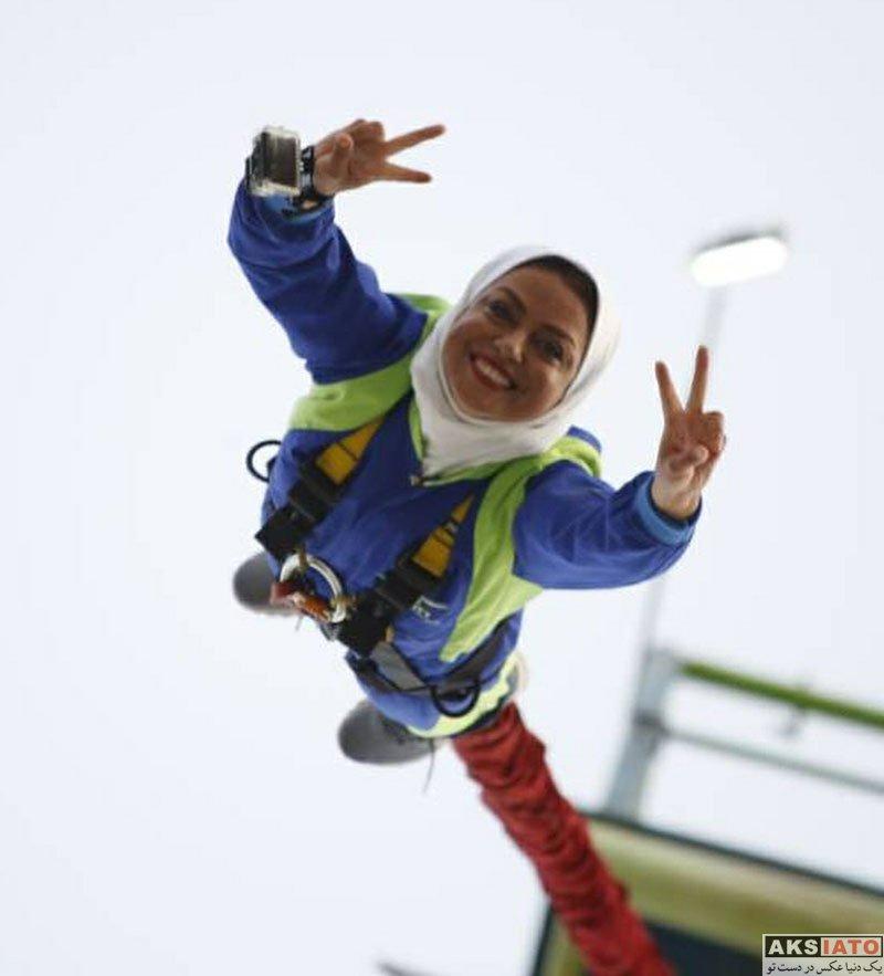 بازیگران بازیگران زن ایرانی  بانجی جامپینگ شبنم فرشادجو در جزیره کیش (4 عکس)