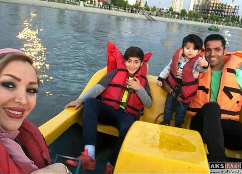 ورزشکاران مرد  امیرحسین صادقی و همسرش در کنار دریاچه چیتگر (3 عکس)
