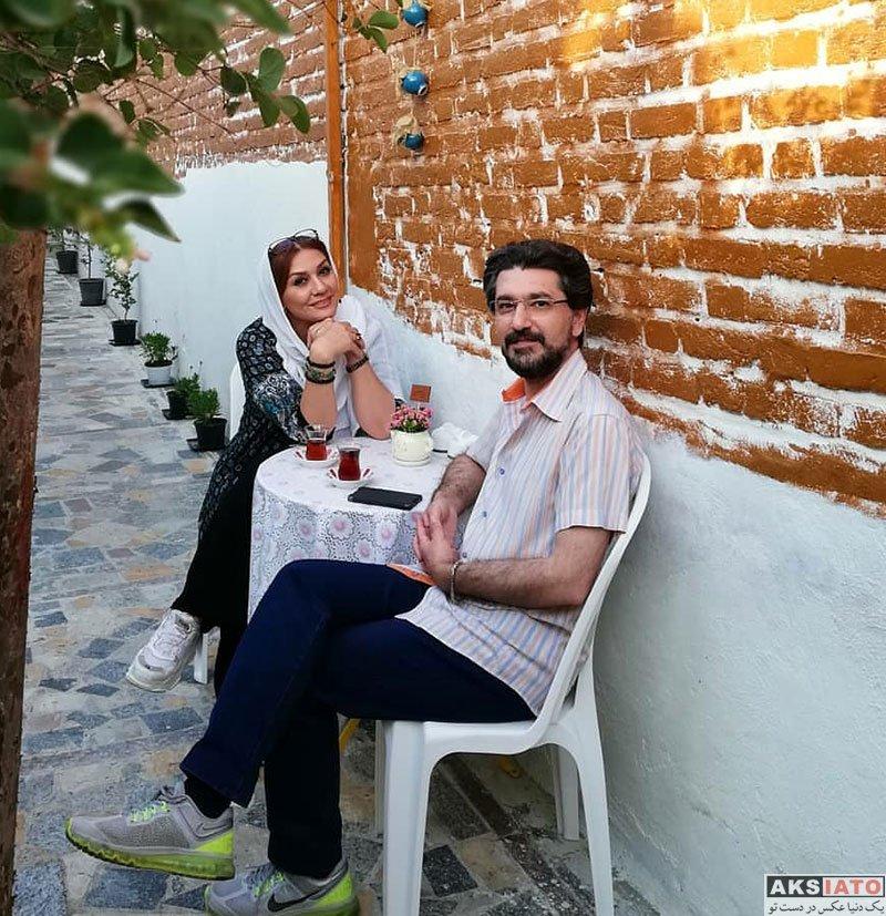 بازیگران  امیرحسین مدرس و همسرش مهمانان برنامه وقتشه (4 عکس)