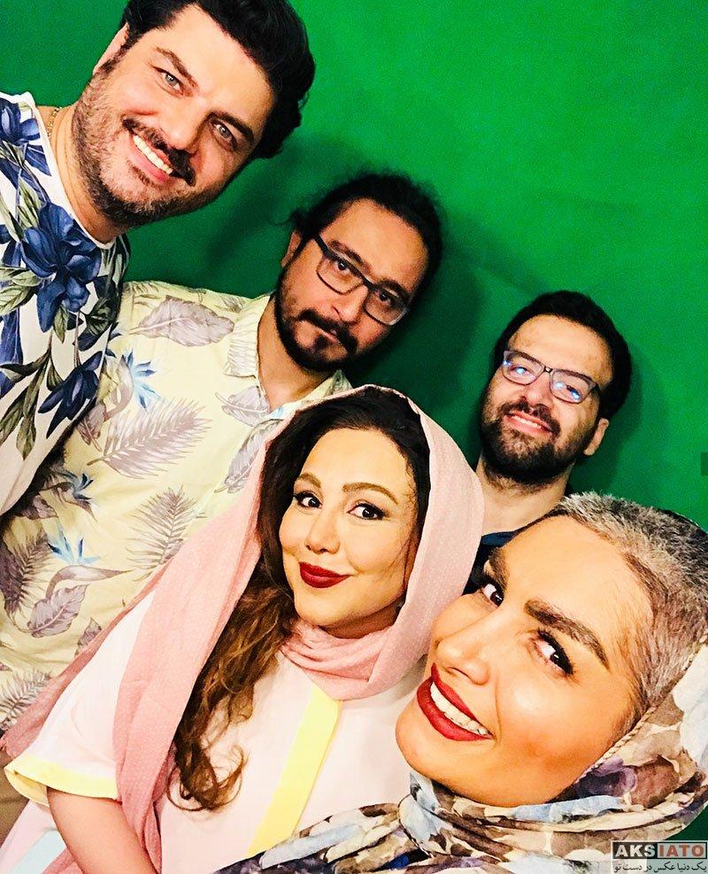 بازیگران بازیگران زن ایرانی  بهنوش بختیاری در سر صحنه ضبط یک ویدیو (4 عکس)