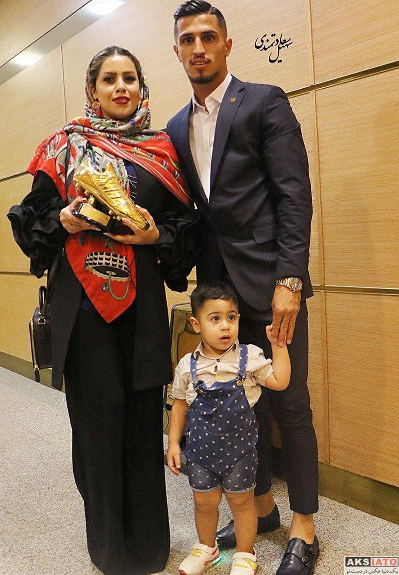 ورزشکاران ورزشکاران مرد  علی علیپور و همسرش در جشن برترین های لیگ فوتبال (۲ عکس)