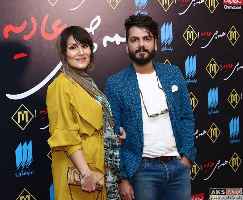 بازیگران بازیگران مرد ایرانی خانوادگی  عباس غزالی و همسرش در اکران خصوصی فیلم همه چی عادیه (۶ عکس)