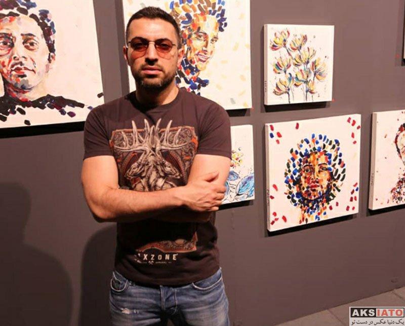 بازیگران بازیگران مرد ایرانی  اشکان خطیبی و همسرش در نمایشگاه نقاشی نگار قربانی (2 عکس)