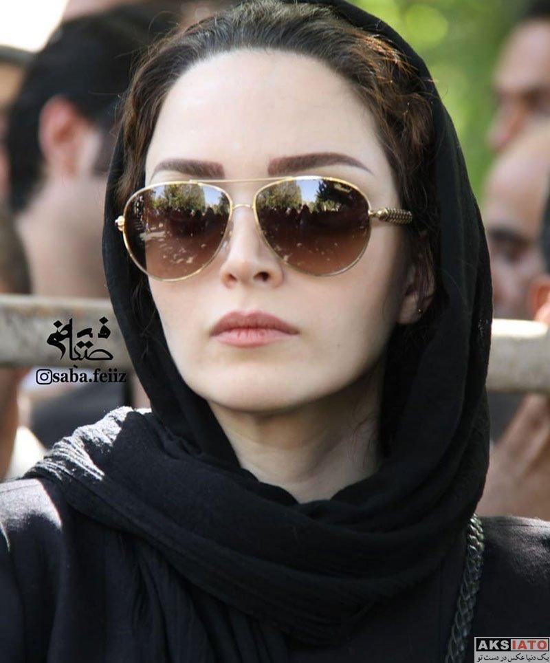 بازیگران بازیگران زن ایرانی  بهنوش طباطبایی در مراسم تشییع پیکر عزت الله انتظامی (6 عکس)