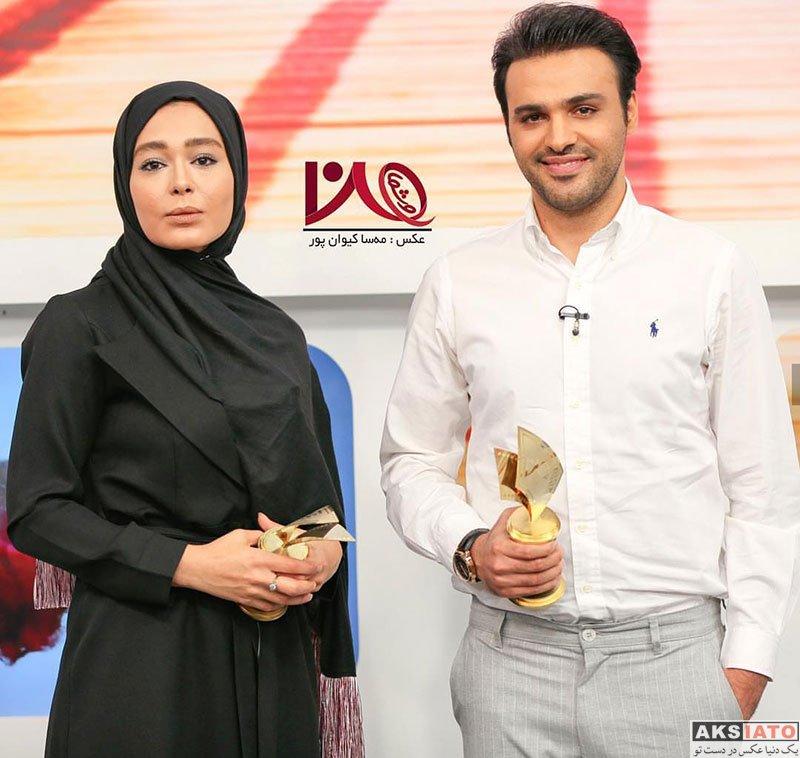 بازیگران بازیگران زن ایرانی  سانیا سالاری بازیگر سریال دلدادگان در برنامه من و شما (4 عکس)