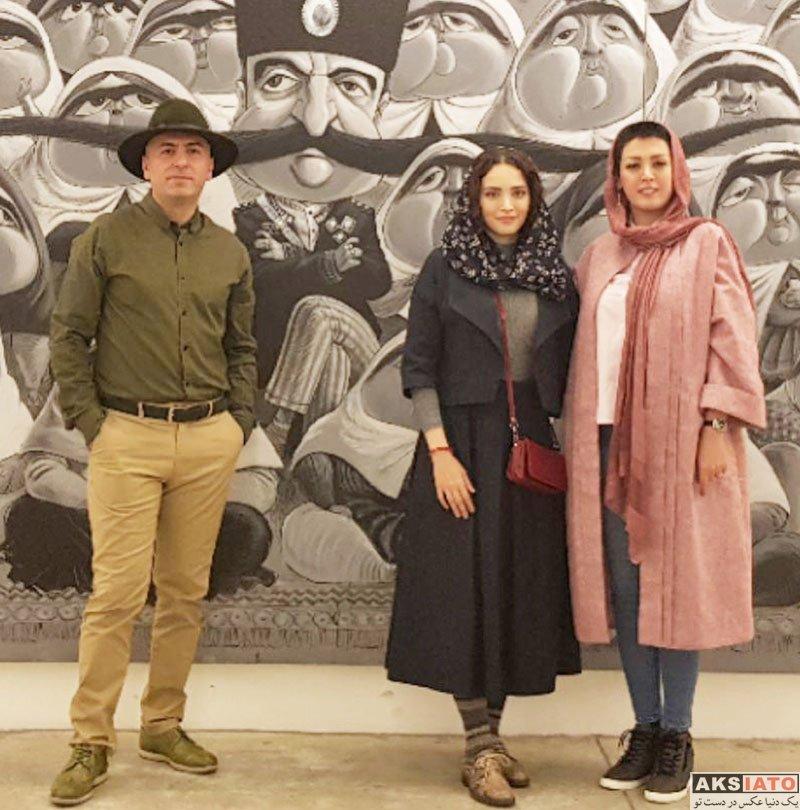 بازیگران بازیگران زن ایرانی  بهنوش طباطبایی در نمایشگاه نقاشی بزرگمهر حسین پور (۳ عکس)