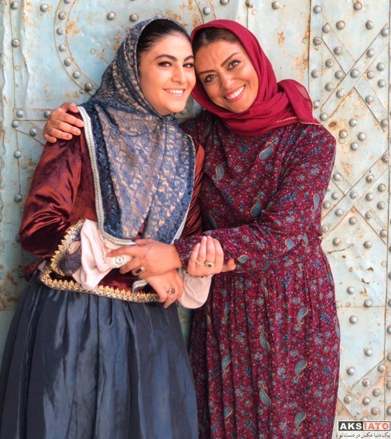 بازیگران بازیگران زن ایرانی  مریم مومن در پشت صحنه سریال بانوی عمارت (۶ عکس)