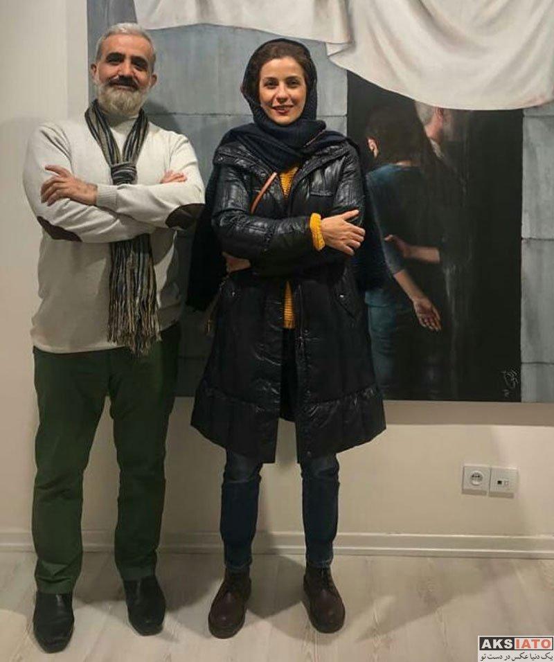 بازیگران بازیگران زن ایرانی  سارا بهرامی در نمایشگاه تقاشی سعید رفیعیمنفرد (4 عکس)