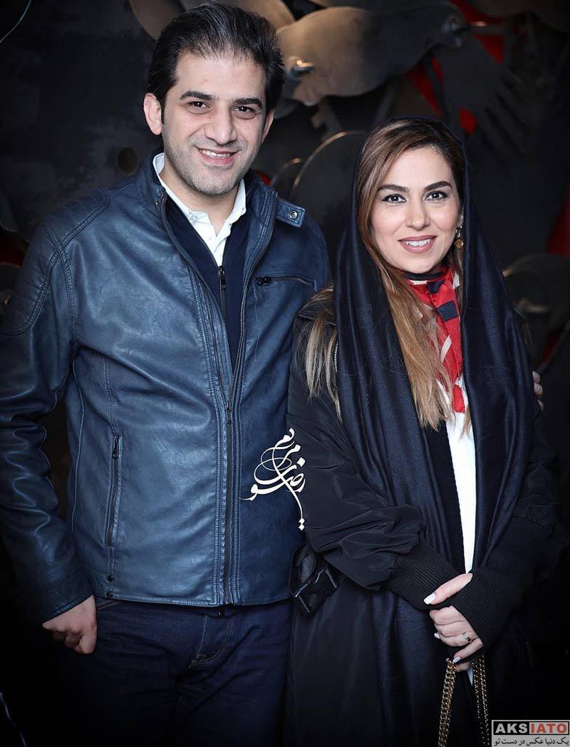 بازیگران بازیگران زن ایرانی خانوادگی  تینا پاکروان و همسرش در نمایشگاه نقاشی محمد هراتی (2 عکس)