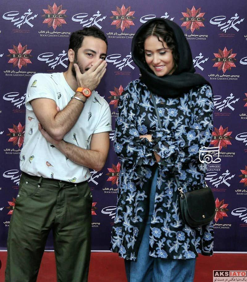 بازیگران بازیگران مرد ایرانی  نوید محمدزاده و پریناز ایزدیار در اکران مردمی فیلم سرخ پوست (2 عکس)