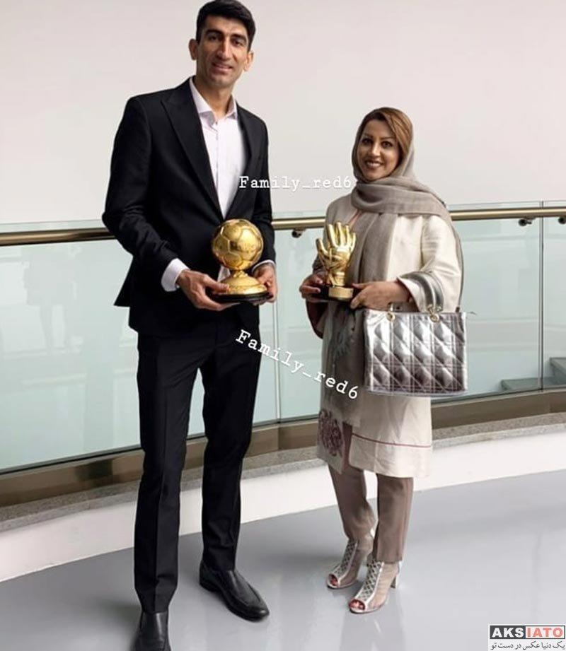 ورزشکاران ورزشکاران مرد  علیرضا بیرانوند و همسرش در مراسم بهترین های ایران 98 (3 عکس)