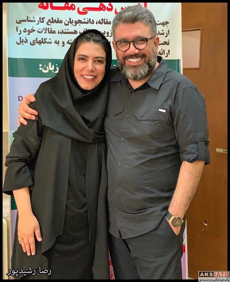بازیگران مجریان  رضا رشیدپور مجری مطرح در کنار خواهرش نازیلا (عکس)