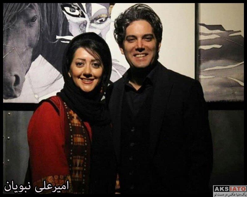 خانوادگی  امیرعلی نبویان و همسرش در نمایشگاه مهرگان شمس (۳ عکس)