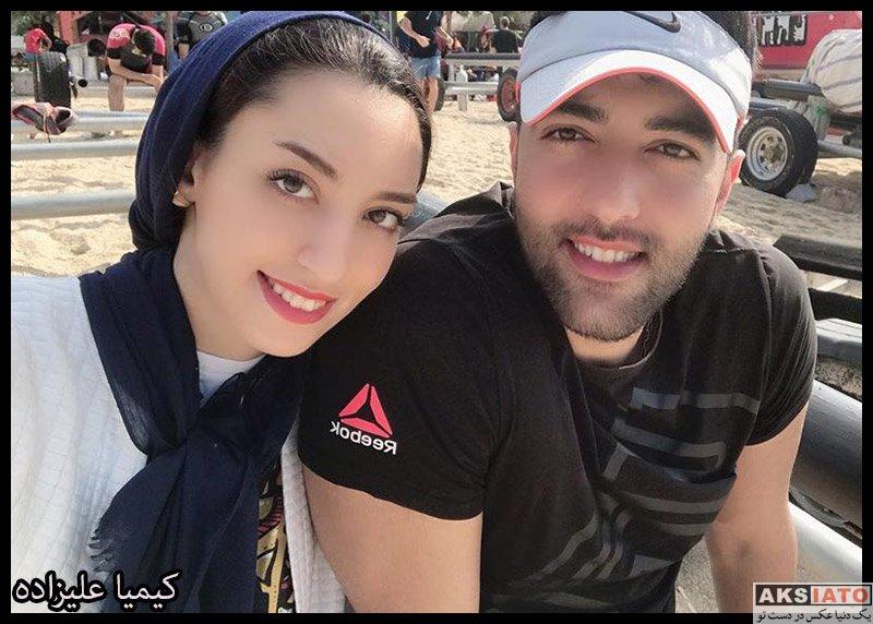 خانوادگی ورزشکاران زن  کیمیا علیزاده و همسرش در جزیره کیش در آذر 98 (3 عکس)