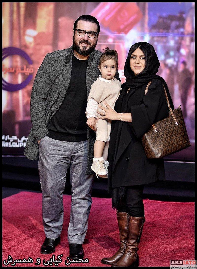 بازیگران مرد ایرانی خانوادگی  محسن کیایی و همسرش در اکران خصوصی فیلم مطرب (3 عکس)