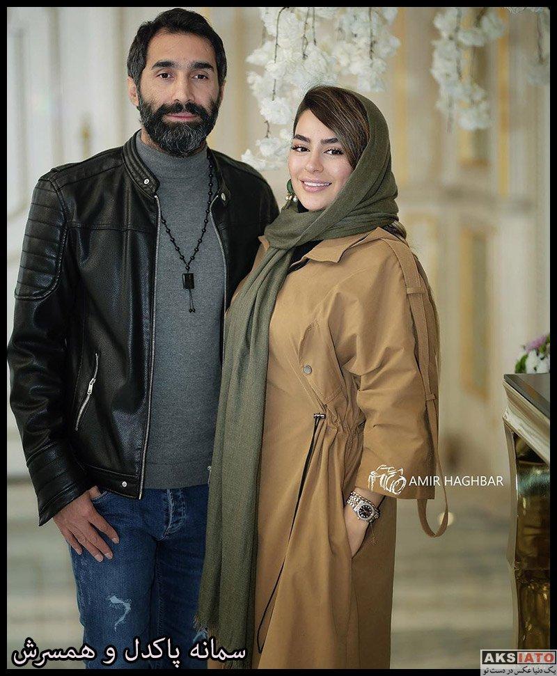 بازیگران خانوادگی  سمانه پاکدل و همسرش در مراسم بزرگداشت علی معلم (2 عکس)