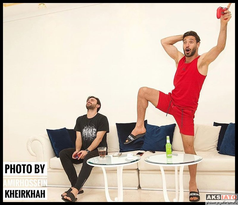 ورزشکاران ورزشکاران مرد  شجاع خلیل زاده در خانه شخصی در دوران قرنطینه (6 عکس)