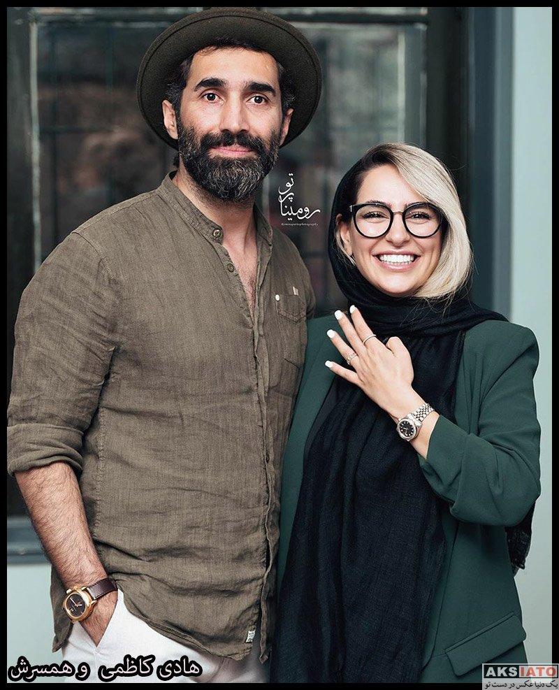 بازیگران مرد ایرانی خانوادگی  هادی کاظمی و همسرش در افتتاحیه نمایشگاه عکس هایش (4 عکس)
