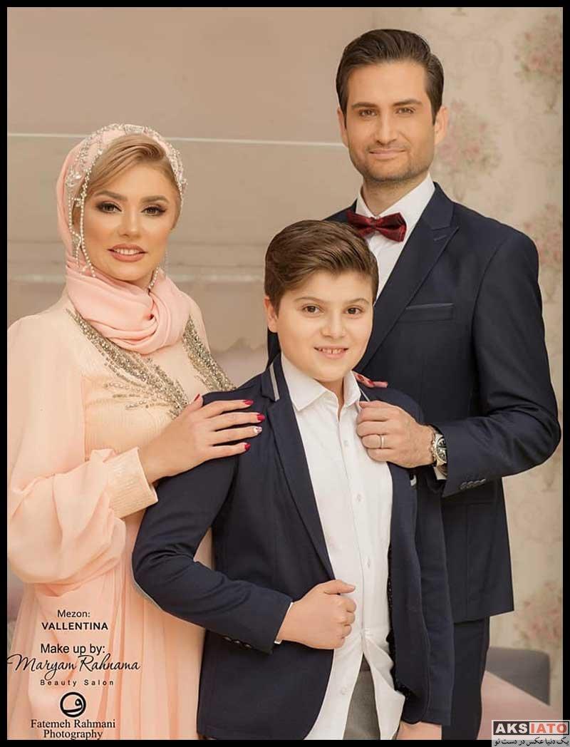 عکس آتلیه و استودیو  عکس های آتلیه پویا امینی و همسر و فرزندنش